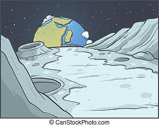 dessin animé, paysage lunaire