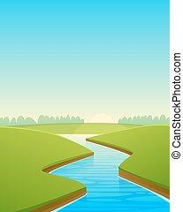 dessin animé, paysage rivière