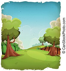 dessin animé, paysage rural, fond