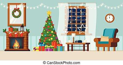 dessin animé, paysage, salle, style., vacances, décoré, nuit, plat, confortable, année, intérieur, nouveau, vivant, hiver, rural, fenêtre
