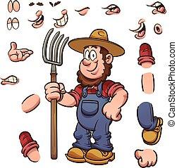 dessin animé, paysan