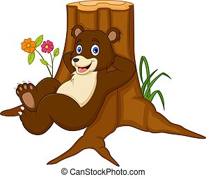 dessin animé, penchant, ours, bois