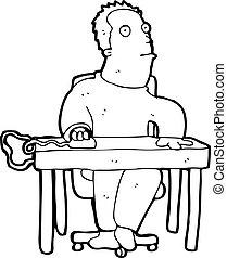 dessin animé, percé, employé bureau
