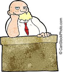 dessin animé, percé, homme bureau