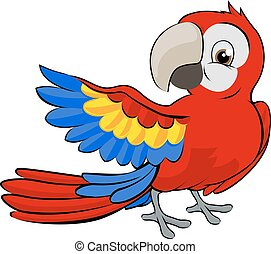 dessin animé, perroquet, mascotte