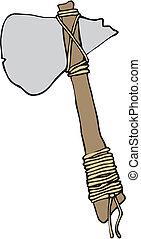 dessin animé, pierre, hache