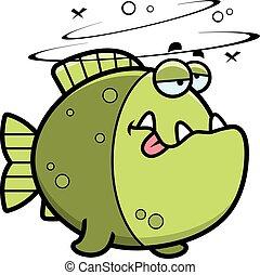 dessin animé, piranha, ivre