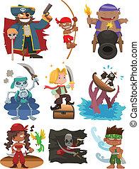 dessin animé, pirate, icône, ensemble