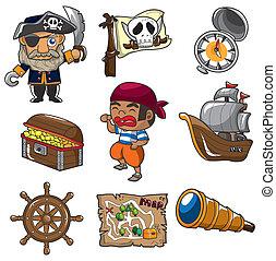 dessin animé, pirate, icône