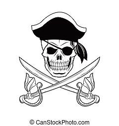 tatouage conception dessin anim pirate tatouage cr ne isol illustration dessin anim. Black Bedroom Furniture Sets. Home Design Ideas