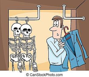 dessin animé, placard, squelettes