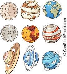 dessin animé, planètes