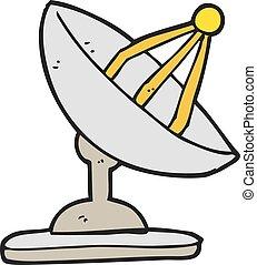 dessin animé, plat satellite
