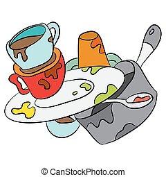 dessin animé, plats, sale