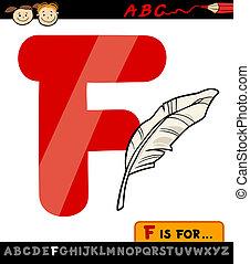 dessin animé, plume, lettre, illustration, f