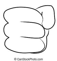 dessin animé, poing, main