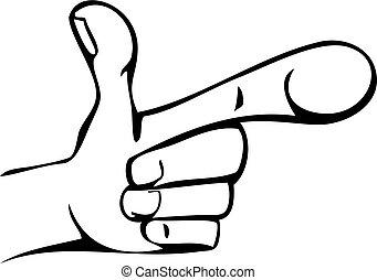 dessin animé, pointage, main