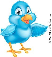 dessin animé, pointage, oiseau bleu