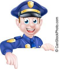 dessin animé, pointage, policier