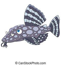 dessin animé, poisson-chat, fish