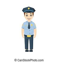 dessin animé, policeman., gosse