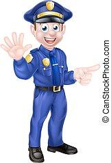 dessin animé, policier, pointage