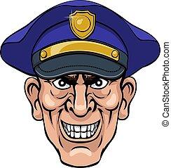 dessin animé, ponting, policier, moyenne, gendarme