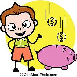 dessin animé, porcin, argent, écolier, économie, banque