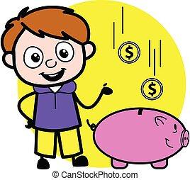 dessin animé, porcin, argent, économie, garçon, banque