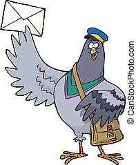 dessin animé, poste, pigeon