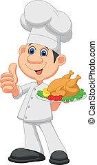 dessin animé, poulet, rôti, chef cuistot