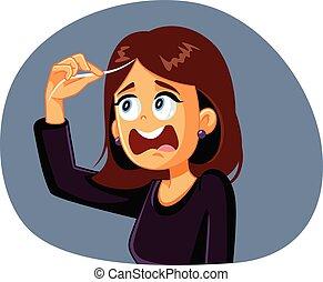 dessin animé, premier, vecteur, gris, réagir, cheveux, femme