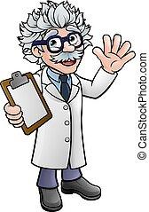 dessin animé, presse-papiers, scientifique, prof