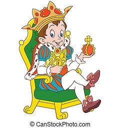 dessin animé, prince, roi, ou