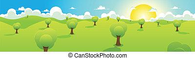 dessin animé, printemps, ou, été, paysage, en-tête
