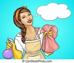 dessin animé, publicité, vecteur, nettoyage, femme foyer, joli, service