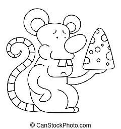 dessin animé, rat, gosses, livre, illustration, coloration