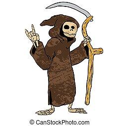 dessin animé, reaper., sinistre