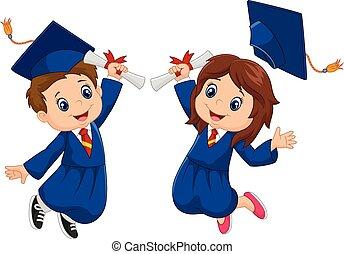 dessin animé, remise de diplomes, célébration