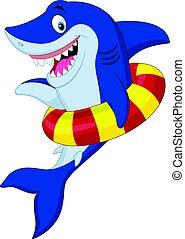 dessin animé, requin, à, anneau gonflable