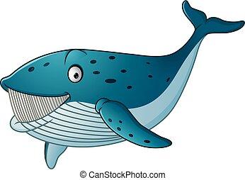 Baleine bleue dessin anim heureux bleu illustration - Dessin requin baleine ...