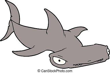 T te marteler requin dessin anim t te grand requin - Modele dessin requin ...