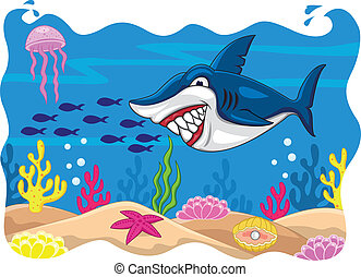 dessin animé, requin