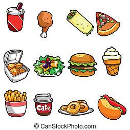dessin animé, restauration rapide, icône