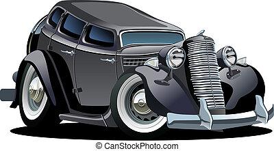 dessin animé, retro, voiture