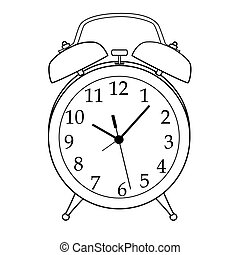 dessin animé, reveil, isolé, illustration, horloge