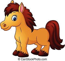 Poney cheval poser dessin anim isol cheval poney isol illustration vecteur poser - Dessin anime avec des poneys ...