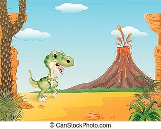 dessin animé, rigolote, dinosaure