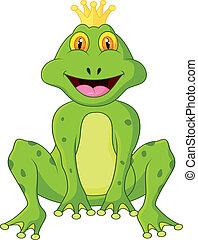 dessin animé, rigolote, grenouille, roi