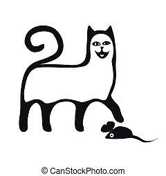 dessin animé, rigolote, noir, collections., chats, silhouette, set., style.